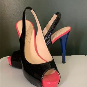 Guess heels.  Black, pink, blue.  like new.  7M